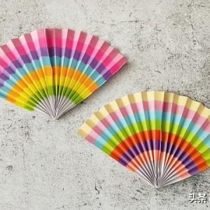 扇子折纸教程步骤图解,简单好看彩虹扇子折叠方法