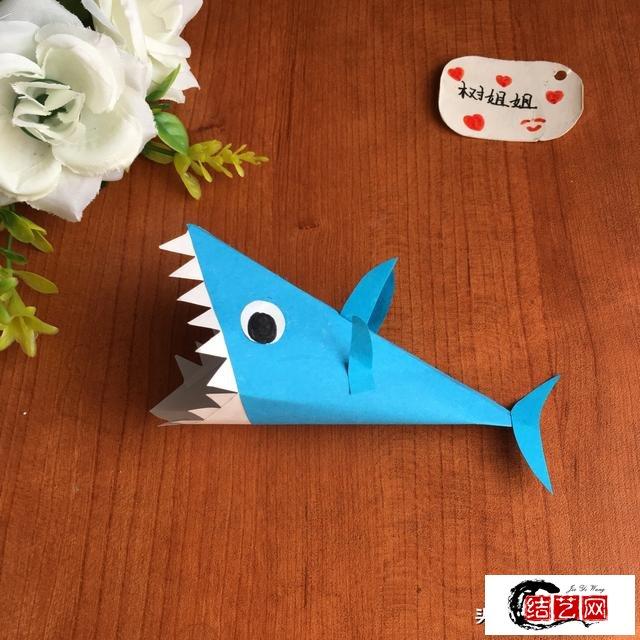 鲨鱼折纸步骤图解图片,教你怎么折简单立体的鲨鱼