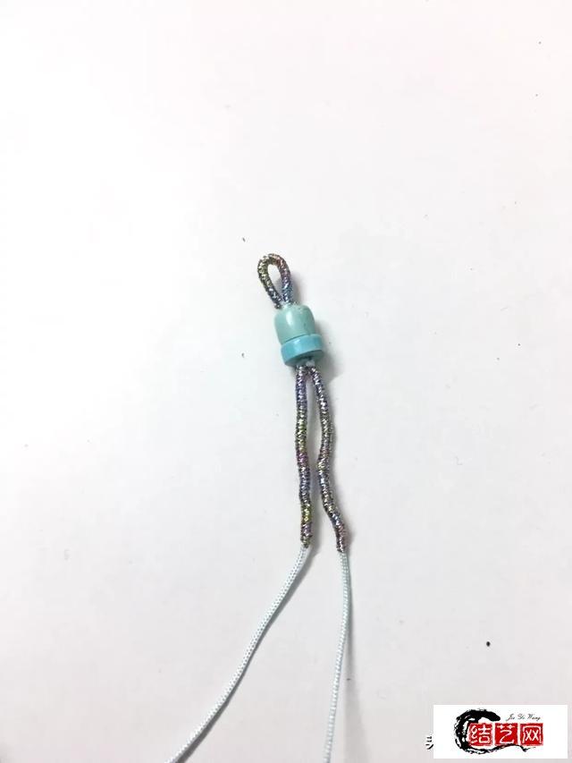 蓝色海洋圈绿松石同心结八股辫手绳