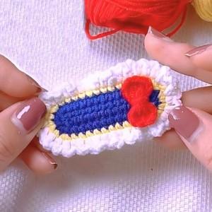 毛线编织鞋子钩针图解,可用于发夹小饰品教程