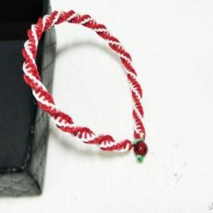 平结红绳手链教程,螺旋单向平结编法图解
