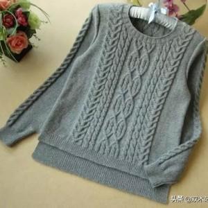 开叉麻花编织教程,棒针前短后长羊毛衫编织步骤