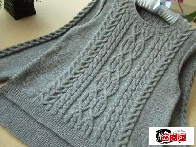 棒针前短后长开叉麻花羊毛衫编织教程