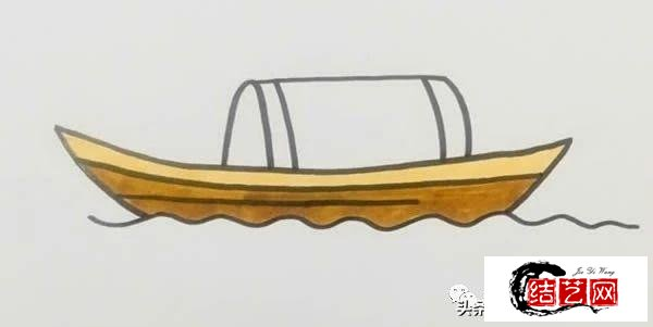 每天学一幅简笔画--木船简笔画画法步骤图片
