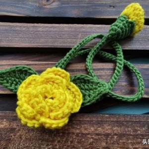 书签钩织图解教程,给小朋友们做钩针编织花朵