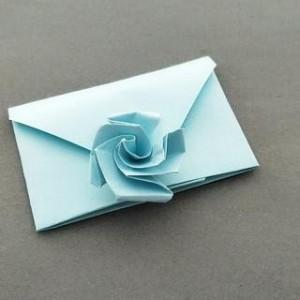 简单玫瑰花信封折纸教程,漂亮的七夕信封折纸手工